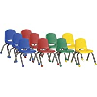 ECR4Kids School Stack Chair with Chrome Legs/ Ball Glides, 10, 6-Pack, Assorted Colors