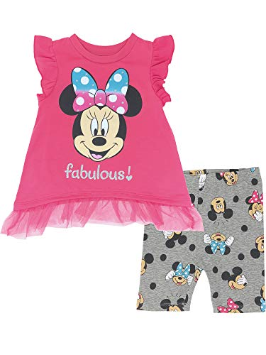 Minnie Mouse Outfit For Infants (Disney Minnie Mouse Baby Girls' High-Low Ruffle Tunic & Bike Shorts Outfit Set (Fabulous Pink, 18)