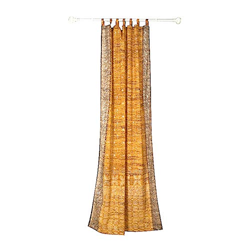 Amber Living Room - GOLD YELLOW CURTAIN Window Treatment Draperies Boho Curtains over 20 colors Sari panel 108 96 84 inch for bedroom living room dining room kids yoga studio canopy tent W GIFT bag Honey Amber earthtones