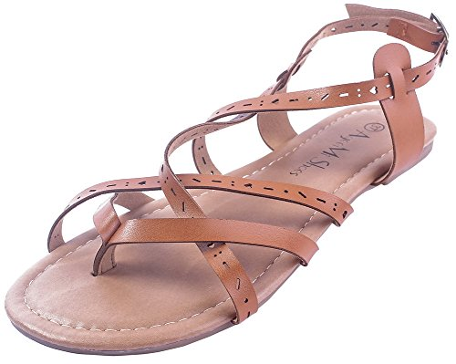 AgeeMi Shoes Women Solid Buckle PU No-Heel Open-Toe Sandals Brown 672Bv8