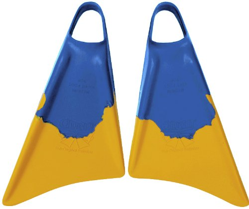Churchill Makapuu Fins (Blue/Yellow). Perfect for Bodyboarding (dropknee and Prone Styles), Shore Swimming, Swimming The surf, Travel fins, bodysurfing, Casual Swimmers or Tight Space Snorkeling ect