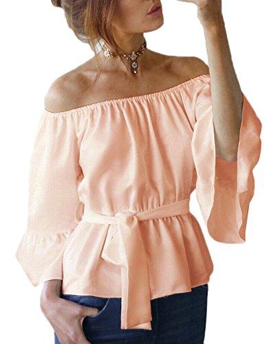 Blouses Fashion Bandage Flare Chemisiers Shirts Sleeve Shirt Unie avec Tops Haut Casual Legendaryman Rose Col T Femmes t Bateau Couleur wxTqWvYO