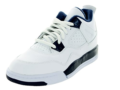Jordan Nike Kids 4 Retro LS BP White/Legend Blue/Mdnght Navy Basketball Shoe 10.5 Kids US by Jordan
