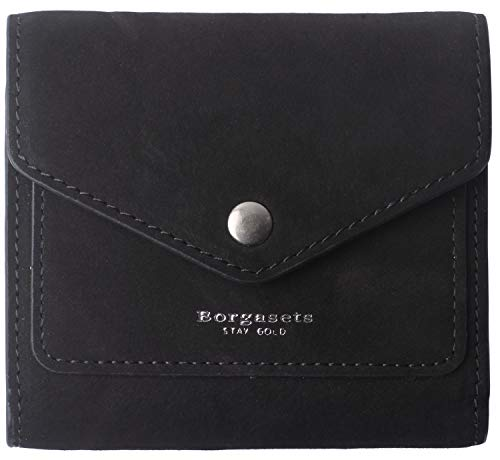 Black Mini Wallet - Borgasets Women's RFID Blocking Small Compact Bifold Leather Pocket Wallet Ladies Mini Purse (Nubuck Black)
