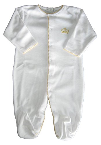 - Kissy Kissy Baby-Boys Infant Royal Baby VELOUR Footie-White With Gold-6-9 Months