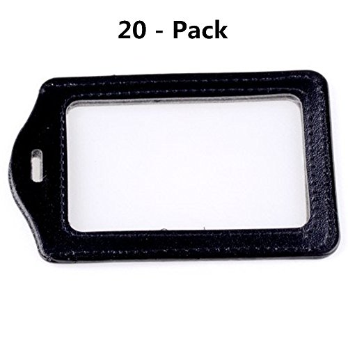 SBParts® Black Hanging ID Holder Business ID Credit Card Clear Pouch Case Protectors - 20 Pack