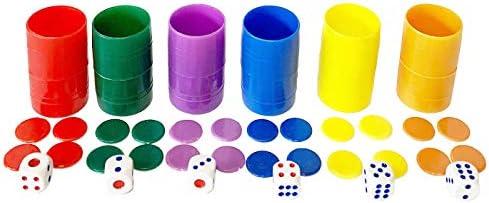 Set de 6 cubiletes con fichas y Dados del parchís: Amazon.es: Juguetes y juegos