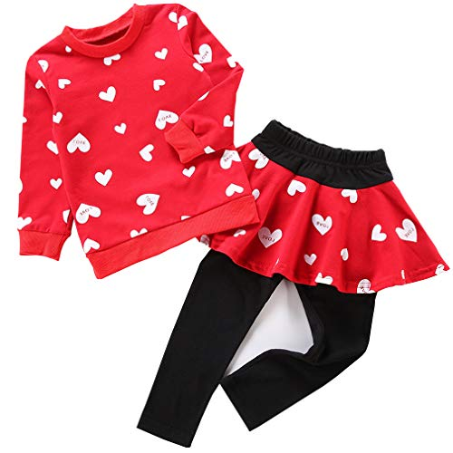 Csbks Baby Girls Long Sleeve Pant Sets Toddler Sweetheart Pantskirt 2pcs Outfits Red 1-2 Years