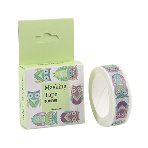 (Set of 3 Roll Lovely Cute Owl Pattern Japanese Washi Masking Tape Decorative Tape for Diary, Journal)