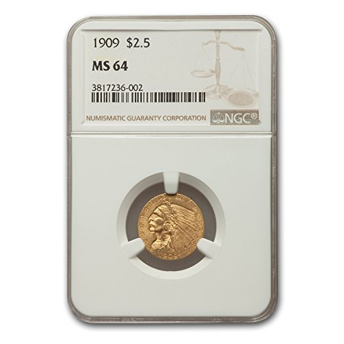 1909 $2.50 Indian Gold Quarter Eagle MS-64 NGC $2.50 MS-64 NGC