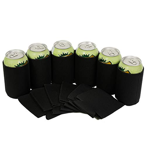 QualityPerfection - Set Of 12 - Black Neoprene Can Cooler Sleeve Collapsible Coolie Economy Bulk Insulation with Stitches Perfect 4 Events,Custom DIY Projects Variety of Colors