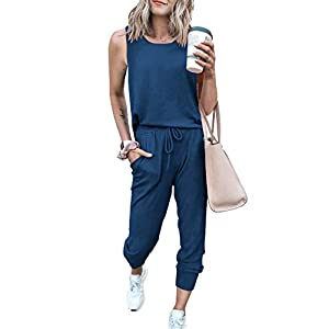 PRETTYGARDEN Women's Two Piece Outfit Sleeveless Crewneck Tops With Sweatpants Active Tracksuit Lounge Wear With Pockets