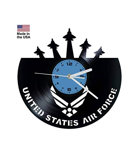 - Vinyl Clock, United States Air Forces, USAF, Christmas gift, Wall clock, vinyl record clock