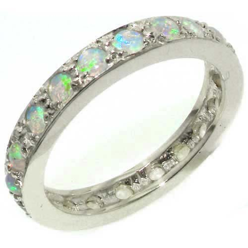 925 Natural (925 Sterling Silver Natural Opal Womens Eternity Ring - Size 8.5)