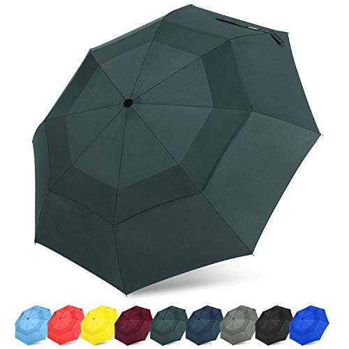 G4Free Auto Open Close Folding Umbrella Compact Travel Umbrella with Safe Lock Double Canopy Windproof