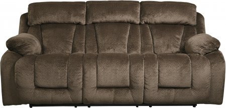 Ashley 8650387 Stricklin 88″ Reclining Power Sofa with Piped Stitching Metal Frame and Fabric Upholstery in Chocolate