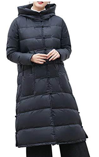 EKU Women's Outwear Winter Warm Coat Long Thick Hooded Down Jackets Black