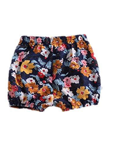 AYIYO Baby Infant Toddler Girls Harem Pants Floral Bloomer Shorts (10(2T-3T), Black)
