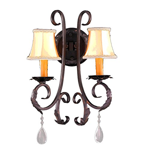 "Worldwide Lighting Abigail Collection 2 Light Flemish Brass Finish Crystal Wall Sconce with Orange Gold Candle and Bell Shade 13"" W x 20"" H Medium"