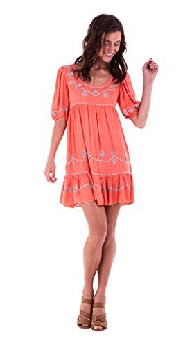 Shu-Shi Baby Doll Short Mini Tunic Dress Embroidery with Short (Short Sleeve Baby Doll Dress)