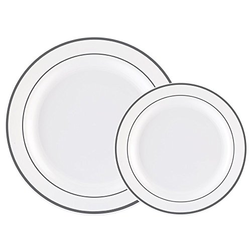ite with Silver Rim Wedding Party Plastic Plates,China Plastic Plates,30-10.25inch Dinner Plates and 30-7.5inch Salad Plates -WDF (White/Silver Rim) ()