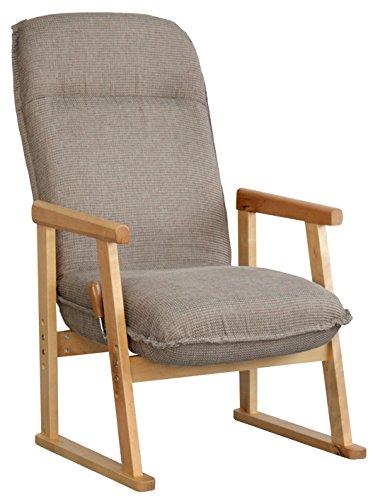 ポケットコイル使用 リクライニング 座椅子 肘掛け ハイタイプ ブラウン B01E9WTDSE ブラウン
