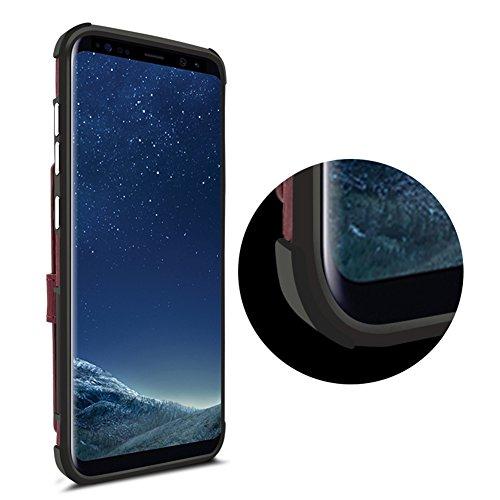 Funda Samsung Galaxy S8 Carcasa, Sunroyal 2 en 1 Magnética Cremallera Wallet Luxury Vintage Suave [Función de soporte] [Shock-Absorption] Soporte del Inteligente Coche Ranuras para Tarjetas y Billetes púrpura