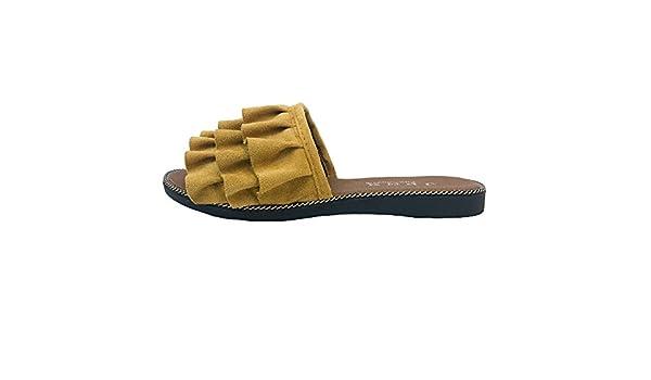 Chancletas Mujer Pelo,YiYLinneo Zapatos De Playa De Verano Encaje Sandalias Color SóLido Chanclas Piso con Una Palabra Zapatillas Casual Flipflop: ...