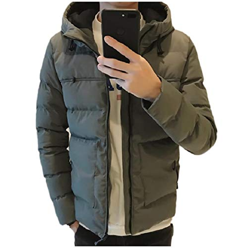 Casual Up Parka Hood Short Mens Zip Loose Jacket RkBaoye with Pocket Grey HqpYEC