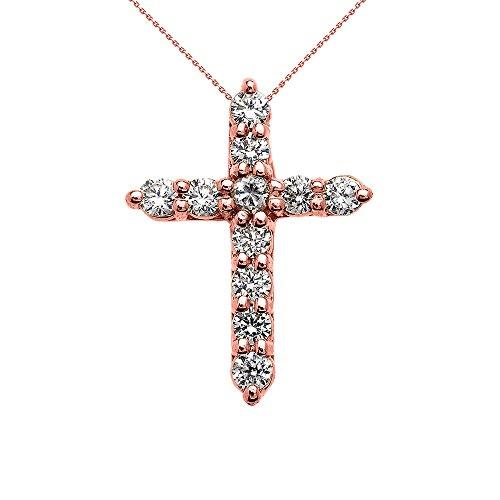 fce3885d2471 Collier Femme Pendentif Élégant 10 Ct Or Rose 1 Carat Rond Oxyde De  Zirconium (Très