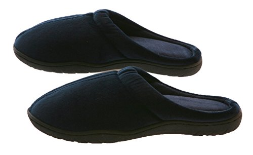 Stafford Bedding (Deluxe Comfort Mens Indoor/Outdoor Slip-On Memory Foam House Slippers, Large - Durable Non-Marking Ruber Sole - Comfortable Foam Cushioning - Warm And Cozy - Mens Slippers, Blue)