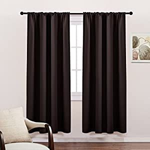 Blackout Curtain Panels Light Block - Thermal Insulated Curtains with Rod Pocket Home Decoration Energy Saving for Bedroom Living Room by PONY DANCE, 42 x 72 Inches, Chocolate Brown, 2 Panels