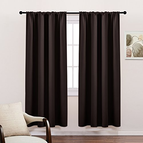 Blackout Curtain Panels for Bedroom - PONY DANCE Energy Saving Blackout Curtains (2017 New Design) Top-rated Window Coverings with Rod Pocket for Living Room,42x72 Inches,Chocolate Brown,2 (Halloween 2 2017 Full Movie)