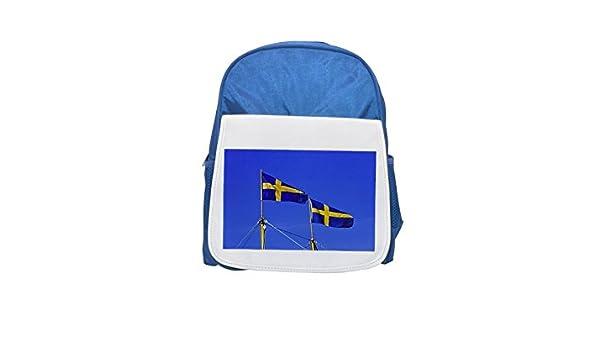 Banderas suecas de la mochila azul cielo estampado niño azul mochila, mochilas lindas, mochilas pequeñas, mochila negra linda, mochila negra fría, ...