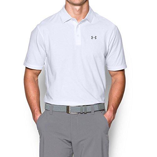 Cotton Golf Stretch Polo - Under Armour Men's Charged Cotton Scramble Polo Shirt, White /White, X-Large