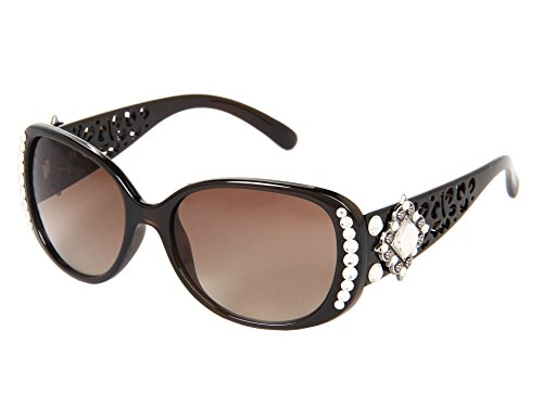 (Blazin Roxx Women's Cutout Rhinestones Sunglasses, Black, OS)