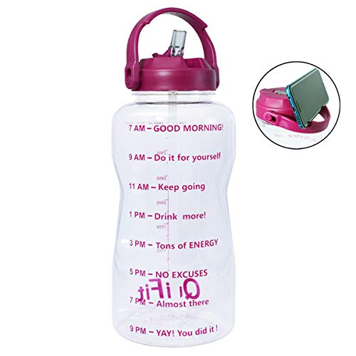 QuiFit 1 Gallon Water Bottle with Straw & Time Marker,BPA Free 128/64 oz Large Water Jug,Leak-Proof and Durable,for Fitness and Outdoor Enthusiasts (1 Gallon, Transparent-Purple)