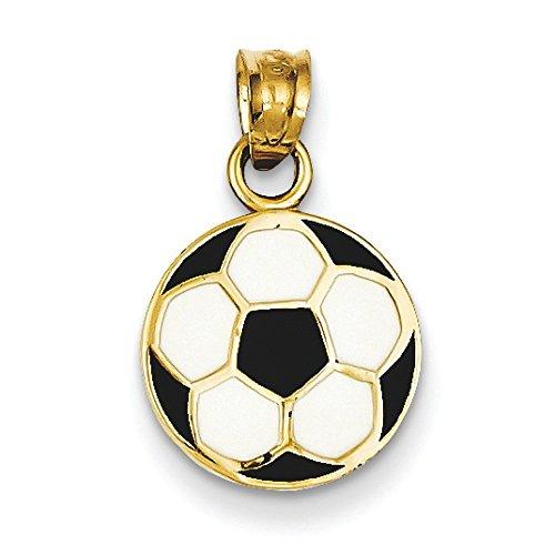14 Carats Pendentif émaillé Motif ballon de football-Dimensions :  19,6 x JewelryWeb - 11,9 mm