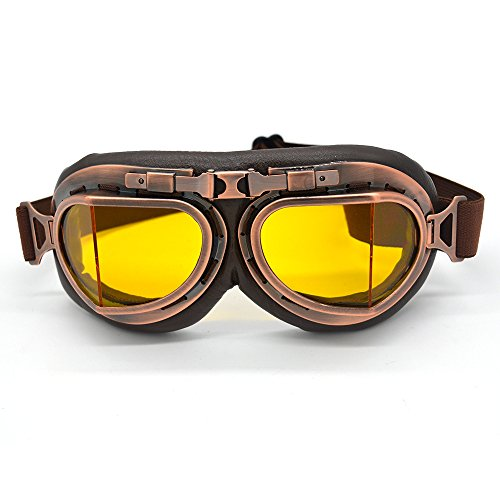Evomosa Vintage Goggles Aviator Pilot Style Motorcycle Cruiser Scooter Goggle Bike Racer Cruiser Touring Half Helmet Goggles (Copper, - Sunglasses Super Racer