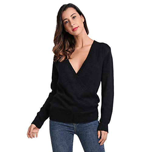 JTANIB Women's Deep V-Neck Sexy Knitted Sweater Long Sleeve Wrap Front Loose Pullover Jumper Tops, Black L