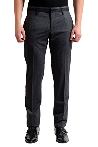 Dolce & Gabbana Wool Gray Polka Dot Flat Front Men's Dress Pants US 32 IT 48;