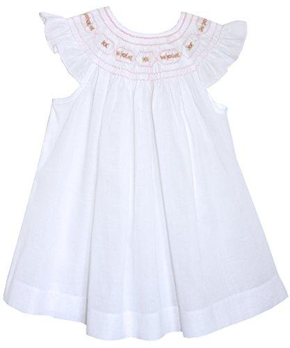 Carouselwear Girls White and Pink Smocked Bishop Dress
