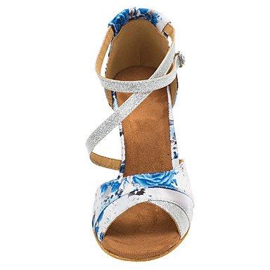 funkelnden Weiß Schuhe Anpassbare Ferse cn34 Eu Xiamuo us5 uk3 Tanz Damen Sandalen Satin 35 Angepasste Tanzen salsa Glitter Latin qtCxXOwdn