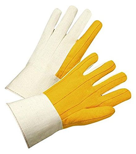 West Chester GWB51SI Chore Palm Canvas Back Gauntlet Cuff Lined Gloves, Large, Yellow