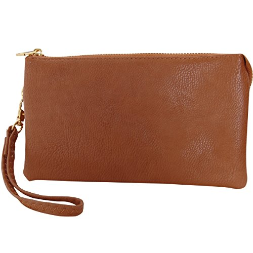 And Includes Humble Chic Adjustable Wristlet Wrist Brown Clutch Crossbody Small Purse Or Shoulder Bag Leather Vegan Straps Saddle vOwr1v