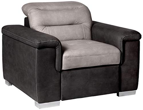 - Homelegance Alfio Arm Chair with Pull-Out Ottoman, Two-Tone Chocolate Fabric