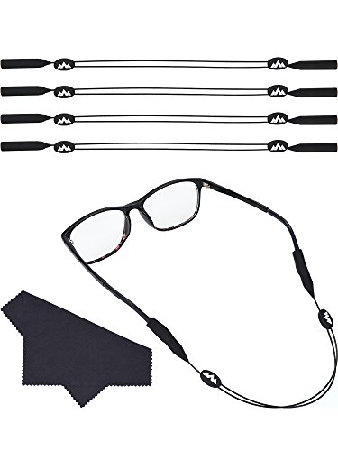 Hestya 4 Pieces Sunglasses Retainer Adjustable Eyewear Straps No Tail Glasses Holder and 2 Pieces Glasses Cloth for Sports Outdoor Activities