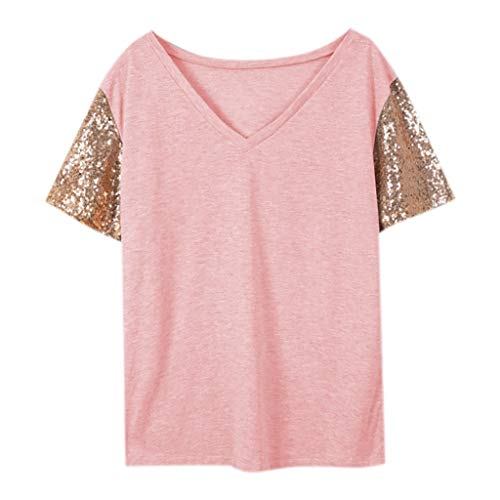 MOZATE Fashion Women V-Neck Short Sleeve Stand Out Sequin Sleeve Tee Casual Blouse Top Pink