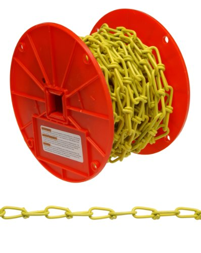 Campbell PD0722087 Low Carbon Steel Inco Double Loop Chain on Reel, Yellow Polycoated, 2/0 Trade, 0.14