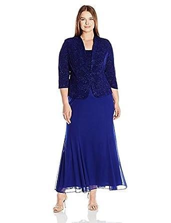 Alex Evenings Womens Plus Size Long Dress With Button Front Jacket